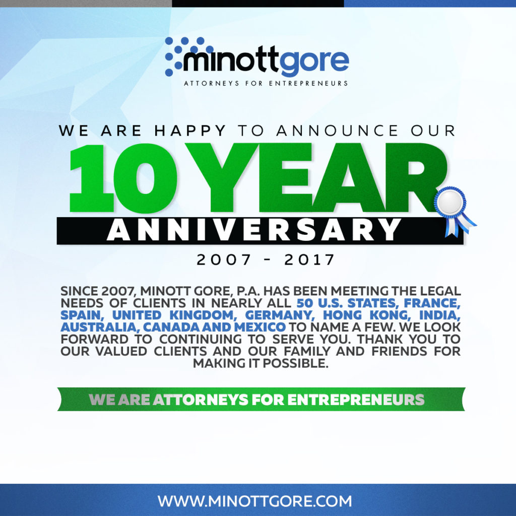 10 years anniversary trademark attorney services